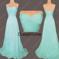 Long Sweetheart Blue Bridesmaid Dress - Cheap Simple Blue Prom Dress / Evening Dress / Wedding Party Dresses