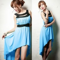 Fashion Sexy Wide Straps Cut-out Womens High-low Dress Asymmetric Hem Tunic 6724