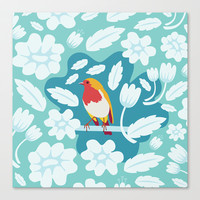 Coloured Robin Stretched Canvas by Ornaart