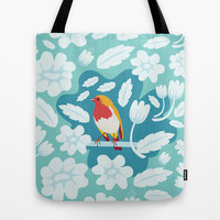 Coloured Robin Tote Bag by Ornaart
