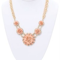 Short Necklace with Double Chain and Roses Surrounded by Stones