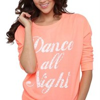 3/4 sleeve baby french terry crop with dance all night screen and ab stones