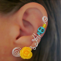 1 Non Pierced Ear Cuff - Halloween, Dia de los Muertos, Samhain Skull Rose Color Choices