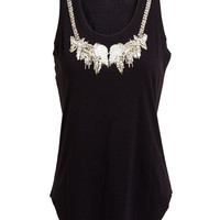 ALEXANDER MCQUEEN | Embellished Neckline Cotton Tank Top | Browns fashion & designer clothes & clothing