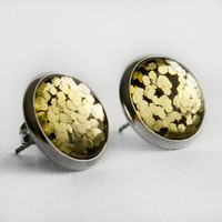 Gold Chunky Glitter Post Earrings in Silver - Bright Gold Mixed Hexagonal Glitter Stud Earrings
