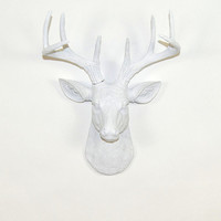 White Faux Deer Head - The MINI Templeton - White Resin Deer Head- White Deer Antlers Mounted