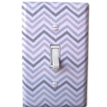 Gray Chevron Single Toggle Switchplate, Switch Plate Decor