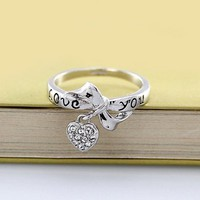 Magic Collection 18k Yellow/White Gold Plated Bowknot & CZ Heart Charm Ring Engraved with Love you (18k White Gold Plated, 8)
