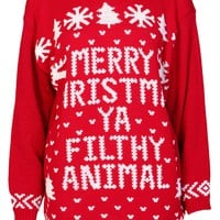 Merry Christmas YA Filthy Animal Jumper - Womens Clothing Sale, Womens Fashion, Cheap Clothes Online | Miss Rebel