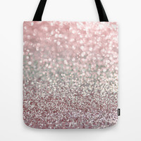 Girly Pink Snowfall Tote Bag by Lisa Argyropoulos