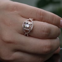 14k Rose Gold Morganite Cushion Halo and Diamond Split Twisted Shank Wedding or Engagement Ring (Choose color and size options at checkout)