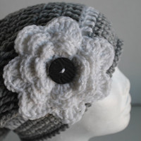 Slouchy Hat -Women-Teen-Grey with White Flower Accent