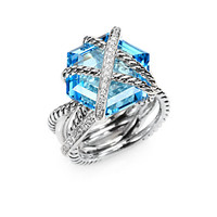 Diamond, Blue Topaz and Sterling Silver Ring