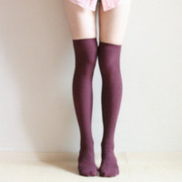 Wine Burgundy Over knee socks Thigh high Boot socks Leg warmer Preppy pin up retro Fall winter socks