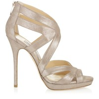 Sand Shimmer Leather Platform Sandals | 24/7 Collection | JIMMY CHOO Sandals