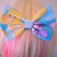 Carebears / Care bear hair bow / care bear fabric bow / Kawaii hair bow / cute hair bow / hair bow clip / hair bow /The care bears / vintage