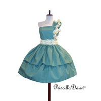 Cotton Cup Dress Custom in Your size and Color Preference Wedding Prom Teal