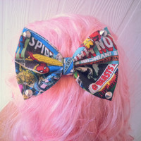 Marvel hair bow / Comic hair bow / Iron Man / Spiderman / Hulk / Thor / Girls hair bow / Fabric bow / Girls hair clip / super hero hair bow
