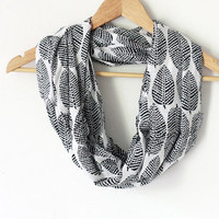 Black and White Scarf autumn leaves - infinity scarf - loop scarf, autumn scarf