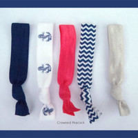 5 pc ANCHOR Set Elastic HAIR TIES, Navy Blue, Hot Pink & Cheron - Makes a Great Gift, Easy On Your Hair, Hairbands