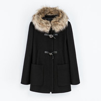 DUFFLE COAT WITH FUR HOOD