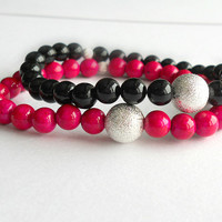 Natural Riverstone in Rose Stone Bracelet with Silver Stardust Spacer Bead