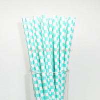 50 Aqua Checkered Paper Straws with Free Printable Flags