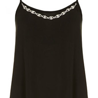 Black necklace trim cami