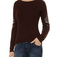 Embellised sleeve jumper