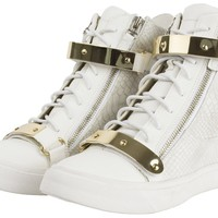 AnnaKastle Womens High-Top Metal Straps Wedge Sneakers Trainers Size 5 6 7 8