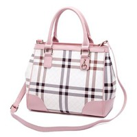 Plaid Fashion Stripes Classic Neutral Casual Lady Tote Crossbody Bag