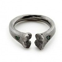 Black Rhodium Bone Ring with Emeralds | NOT JUST A LABEL