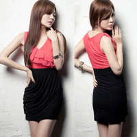 Korean Women s Vogue Color Blocking Flouncing Sleeveless Shift Mini Dress 789972