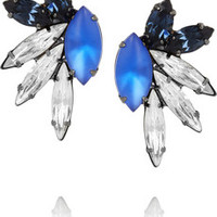 Elizabeth Cole Hematite-plated Swarovski crystal earrings – 46% at THE OUTNET.COM