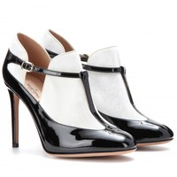 PATENT-LEATHER AND VELVET T-BAR PUMPS