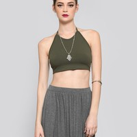 WOODSTOCK HALTER CROP TOP - OLIVE