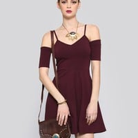 WHAT A FLIRT MINI DRESS - BURGUNDY