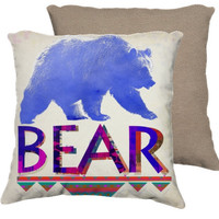 BEAR PILLOW - wild animals nature woodland typography pattern watercolor illustration blue purple pink home decor pillow bedding