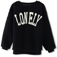 LONELY Print Faux Fur Sweat Top in Black