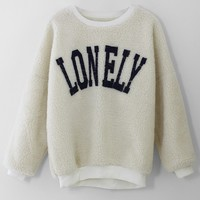 LONELY Print Faux Fur Sweat Top in White