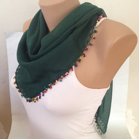 Green lace Cotton Scarf - Lace With Beads - Woman Accessories