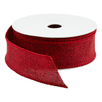 Red Glitter Faux Burlap Wired Ribbon