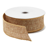 Natural Glitter Burlap Wired Ribbon