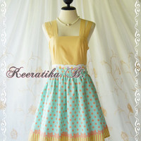 Jazzie III - Gorgeous Rockabilly Dress Yellow/Mint Green Color Polka Dot Dress Yellow Top Tea Dress Party Dress Day Dress