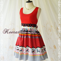 Jazzie Dress lll - Vintage Design Dress Scoop Neck Top Cutie Print Skirt Party Dress Tea Dress Day Dress Red Dress Polka Dot Dress