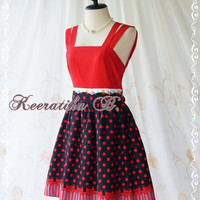 Jazzie III - Gorgeous Rockabilly Dress Red/Dark Navy Color Polka Dot Dress Red Top Tea Dress Party Dress Day Dress