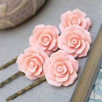 Pink Rose Bobby Pins Set of Five Hair Clips Wedding Bridal Hair Slides Peach Romantic Floral Accessories Flower Hair Clips Rose Garden