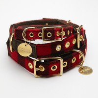 Found My Animal Womens Buffalo Plaid Canvas Collar - Red Combo,