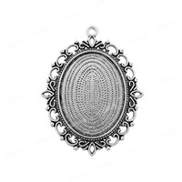 5pcs Antique Silver Oval Cabochon Cameo Bezel Tray Pendant, Fits 30x40mm Cabochon (CS0219)
