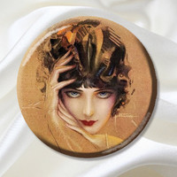 Pocket Mirror - Vintage 1920s Flapper Glance-Party Favor, Bridesmaid Gift, Baby Shower, Birthday, Stocking Stuffer MR364